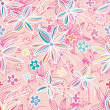 Flower pastel freedom pink seamless pattern. This illustration is abstract drawing flower pastel with line freedom flight in pink color background and seamless Royalty Free Stock Photo