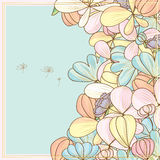 Flower pastel golden side card Royalty Free Stock Photo