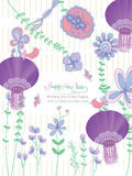Flower pastel Happy New Year purple Royalty Free Stock Photography