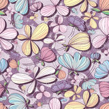 Flower pastel purple seamless pattern Royalty Free Stock Photo