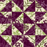 Flower Patchwork. Green and Purple Flower Patchwork Stock Image