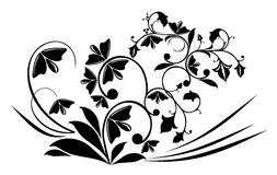 Flower pattern. Illustration drawing of beautiful black flower pattern Royalty Free Stock Photo