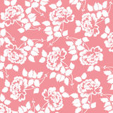 Flower pattern. Beautiful pattern with rose flowers on red background, floral  illustration Stock Photography