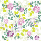 Flower pattern. Vector seamless summer background with flowers and leaves Stock Photography