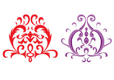 Flower pattern. Two different color decorative items Royalty Free Stock Photos