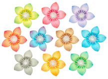 Flower pattern. 10 isolated paper flowers on a pure white background Royalty Free Stock Photos
