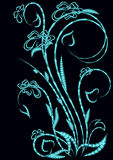 Flower pattern. Abstract bouquet on a dark background stock illustration