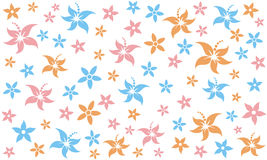 Flower. Blue pink orange flower motive pattern design for fabric Royalty Free Stock Photography