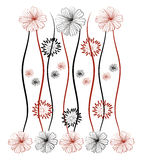 Flower pattern background. Illustration. Red and black Stock Photos