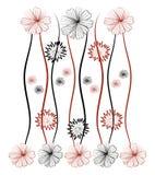 Flower pattern background. Illustration. Red and black royalty free illustration