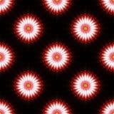 Flower pattern background. Regular pattern of vibrant red flowers on black background Stock Photos