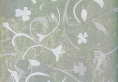 Flower pattern on Background corrugated glass Stock Photos