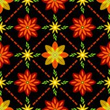Flower pattern on batik with black background vector illustration
