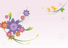 Flower pattern and bird Stock Images