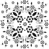 Flower pattern,black and white flora on white background Royalty Free Stock Photo