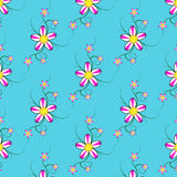 Flower Pattern. On Blue Background Royalty Free Stock Photos