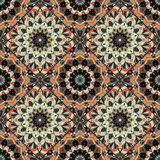 Flower Pattern Boho Brown Black Intricate. Bright Mandala Pattern. Seamless tile patchwork ornament. Intricate texture flower illustration for pillow fabric royalty free illustration