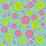 Flower pattern. Bright coloured flower pattern on blue background Stock Photo