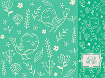 Flower pattern with decorative flowers, leaves and birds. Vector pattern for packaging, advertising, print and websites as a background Stock Illustration