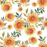 Flower pattern. Decorative watercolor seamless pattern with flowers.  Beautiful floral background of watercolor sketches for the design and decoration. Stylish Stock Photos