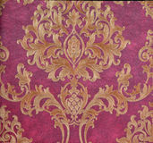 Flower pattern. East style golden flower pattern with purple background Royalty Free Stock Images