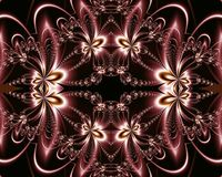 Flower pattern in fractal design. Chocolate and silver. Computer Stock Photo