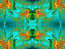 Flower pattern in fractal design. Orange and green palette. Comp. Uter generated graphics Royalty Free Stock Photo