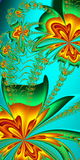 Flower pattern in fractal design. Orange and green palette. Comp Royalty Free Stock Images