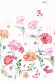 Flower pattern, hand-painted flowers, watercolor flowers Royalty Free Stock Photo