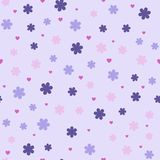 Flower pattern with hearts. Seamless vector. Background - violet, lilac, pink flowers and rose hearts on light lavender backdrop Stock Photos