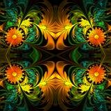 Flower pattern. Orange, green and black palette. Fractal design. Stock Image