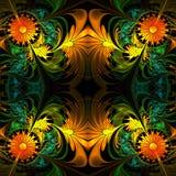 Flower pattern. Orange, green and black palette. Fractal design. Stock Photo