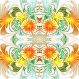 Flower pattern. Orange and green palette. Fractal design. Comput Stock Image