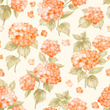 The Flower pattern. Flower pattern of orange hydrangea flowers over white background. Seamless texture. Orange flowers. Vector illustration Stock Photo