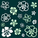 Flower pattern over green Royalty Free Stock Image
