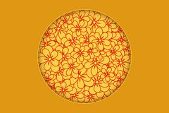 Flower pattern with place for text. Design for Chinese New Year royalty free illustration