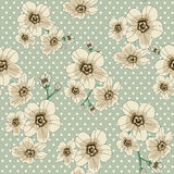 Flower pattern with polka dot. This is the vector illustration of flower in seamless pattern Royalty Free Stock Images