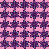Flower pattern. Purple flowers on a pink background Stock Image