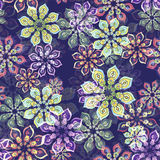 Flower pattern on purple Royalty Free Stock Image