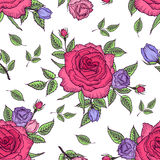 Flower pattern of roses. Seamless pattern vintage rose. Flower pattern of roses. Vintage floral background. Vector rose pattern design for card, womens day Stock Photo