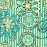 Flower pattern seamless background. Flower pattern seamless on striped background Royalty Free Stock Photo