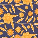 Flower pattern seamless background. Flower pattern on dark blue background Stock Image