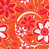 Flower pattern seamless background. Flower pattern on orange background Stock Images