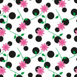Flower pattern. Seamless pattern with black circles and flowers in the romantic style vector illustration