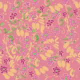 Flower pattern. Seamless design for wallpaper in doodle style. Yellow outlines on a pink background. Abstract natural stock photo