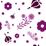 Flower pattern. A seamless pattern with different flowers and transparent background Stock Photography