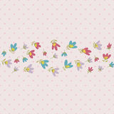 Flower pattern. Spring vector hand-drawn doodle Royalty Free Stock Image