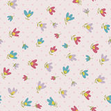 Flower pattern. Spring vector hand-drawn doodle Royalty Free Stock Photo