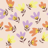 Flower pattern. Spring vector hand-drawn doodle Royalty Free Stock Photos