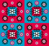 Flower pattern square background. Flower pattern with decorative curl square background Royalty Free Stock Photo